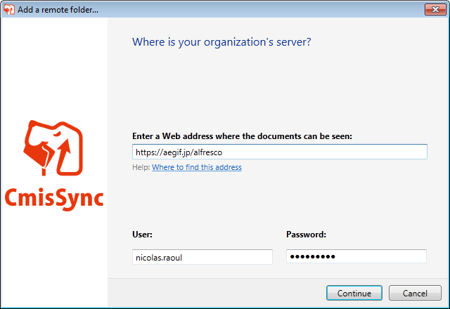 Syncing a CMIS folder