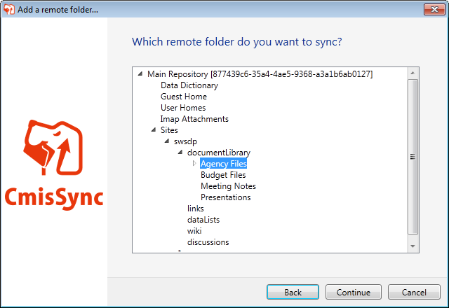 Selecting which CMIS folder to synchronize